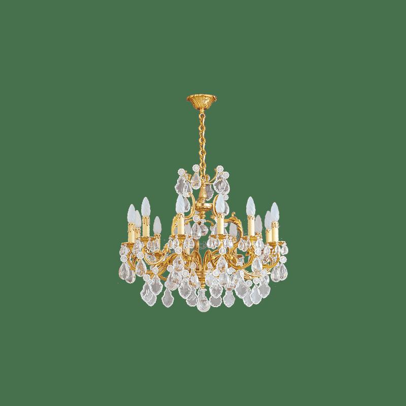 Lucien Gau Goldener Kronleuchter aus Kristall 12 Lichter Louis XV 15392 Kristalle