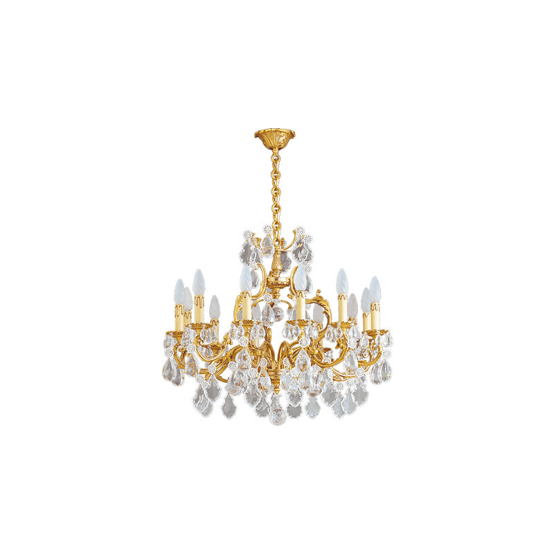 Lucien Gau Lustre doré en cristal 12 lumières Louis XV 15392 Cristaux