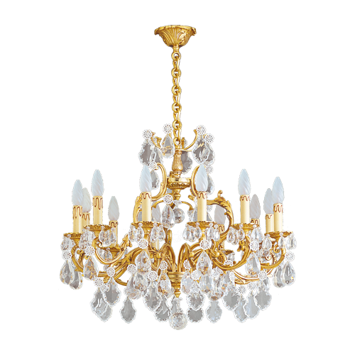 Lucien Gau Golden chandelier in crystal 12 lights Louis XV 15392