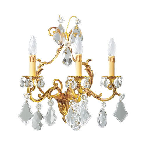 Lucien Gau Louis XV crystal sconce with three lights 15493 Crystals