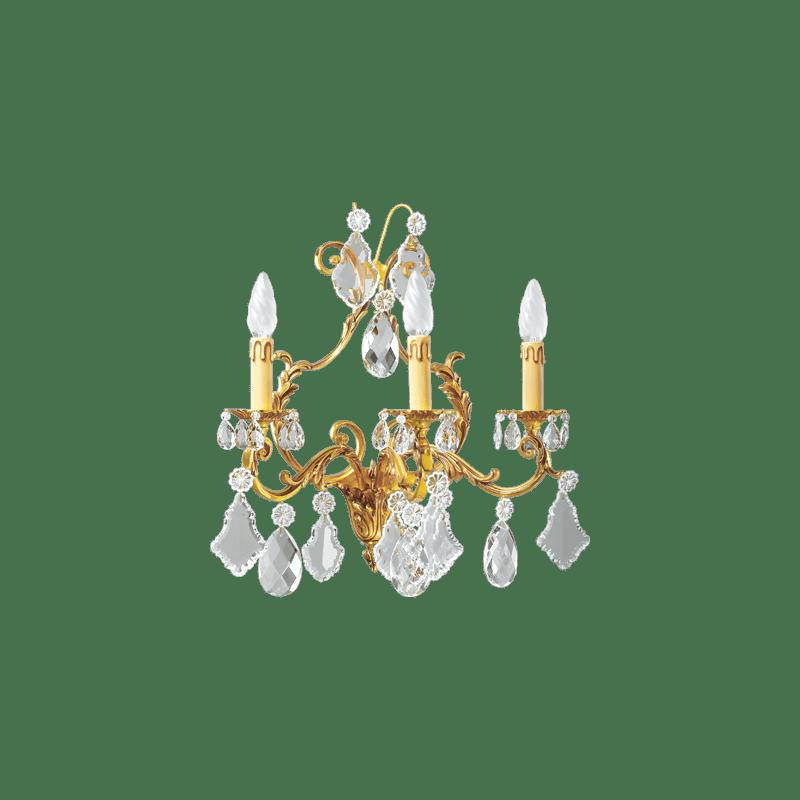 Lucien Gau Applique Louis XV en cristal à trois lumières 15493 Cristaux