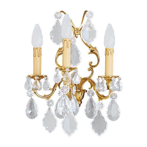 Lucien Gau Louis XV crystal sconce with three lights 15393 Crystals