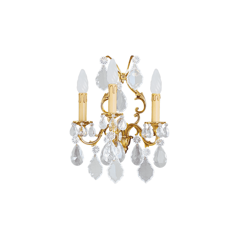 Lucien Gau Louis XV Kristallleuchte mit drei Leuchten 15393 Kristalle