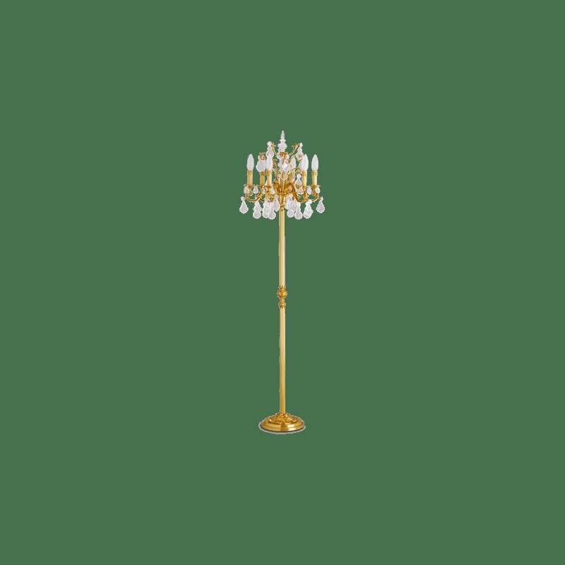 Lucien Gau Louis XV Stehleuchte aus massiver Bronze mit sechs Leuchten 15926 bis Kristalle