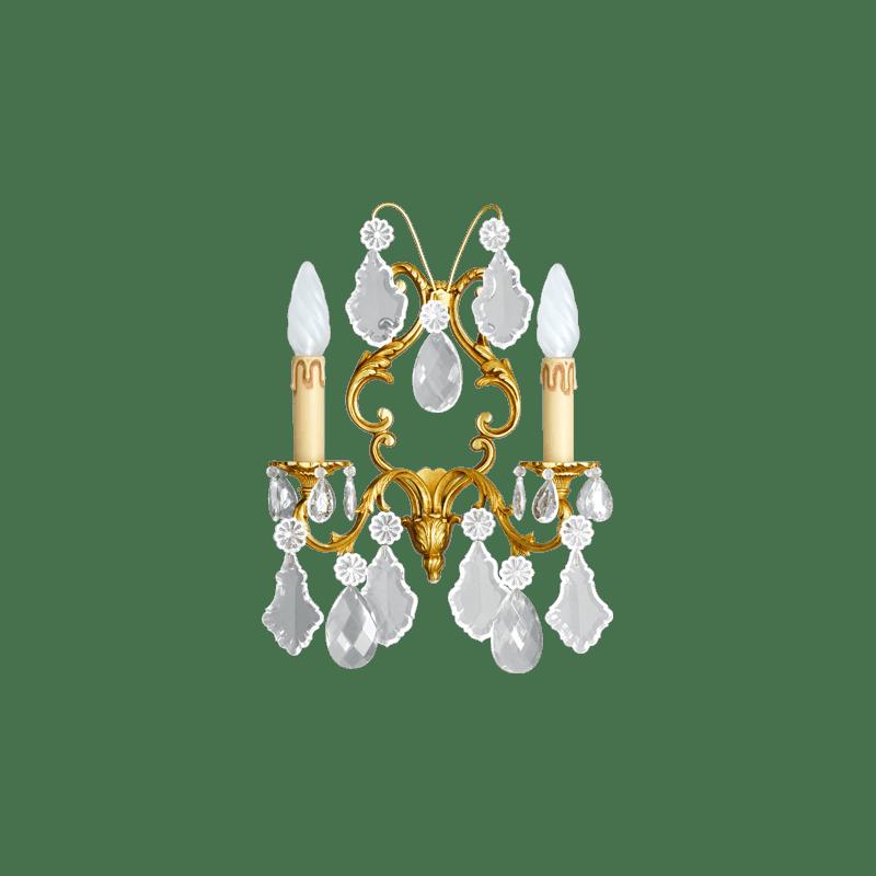 Lucien Gau Louis XV zweikristalline Kristallwandleuchte 15393/2 Kristalle