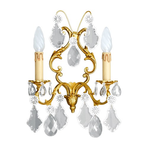 Lucien Gau Louis XV two-crystal crystal wall light 15393/2