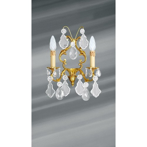 Lucien Gau Louis XV two-crystal crystal wall light 15393/2 Crystals