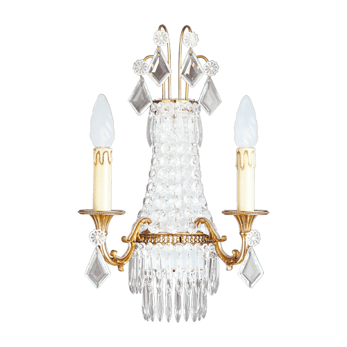 Lucien Gau Louis XVI crystal sconce in three lights 16363 Crystals