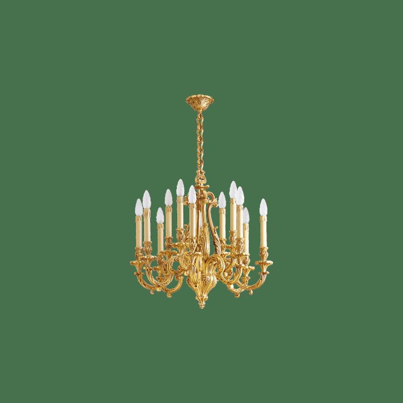 Lucien Gau Louis XV solid bronze chandelier with twelve lights 15972