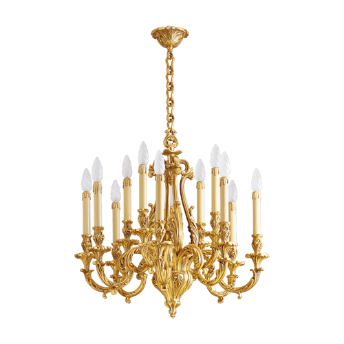 Lucien Gau Louis XV solid bronze chandelier with twelve lights 15972