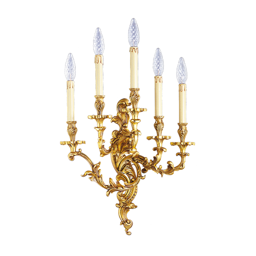 Lucien Gau Louis XV style bronze chandelier with five lights 15285