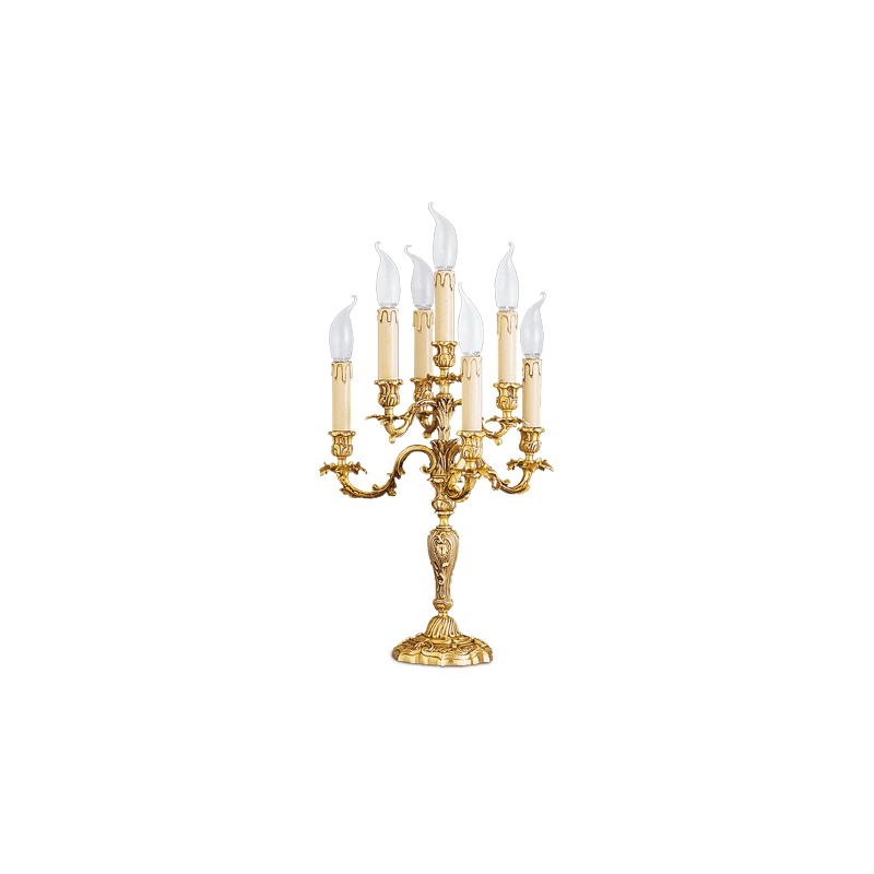 Lucien Gau Louis XV solid bronze table lamp with seven lights 15477