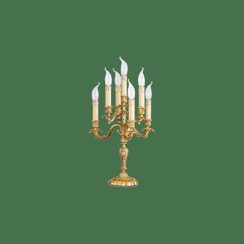 Lucien Gau Louis XV Tischlampe aus massiver Bronze mit sieben Lichtern 15477