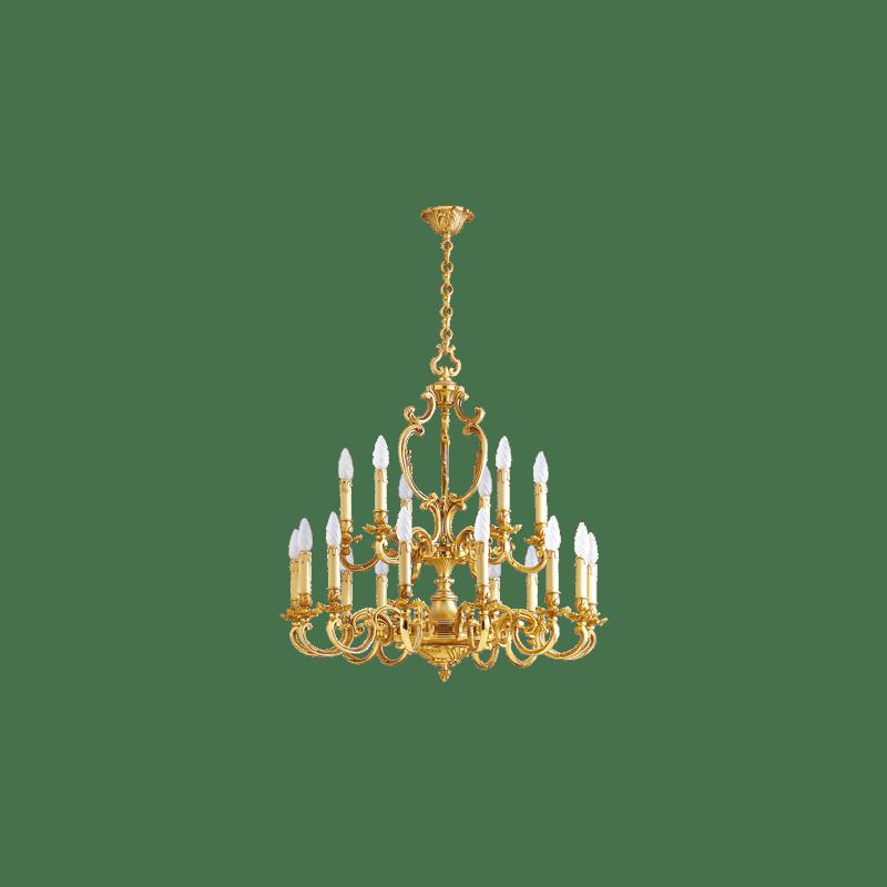Lucien Gau Louis XV solid bronze chandelier with eighteen lights 15278