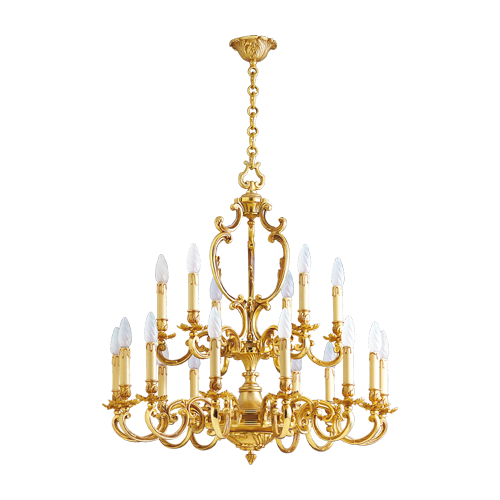 Lucien Gau Louis XV solid bronze chandelier with eighteen lights 15278