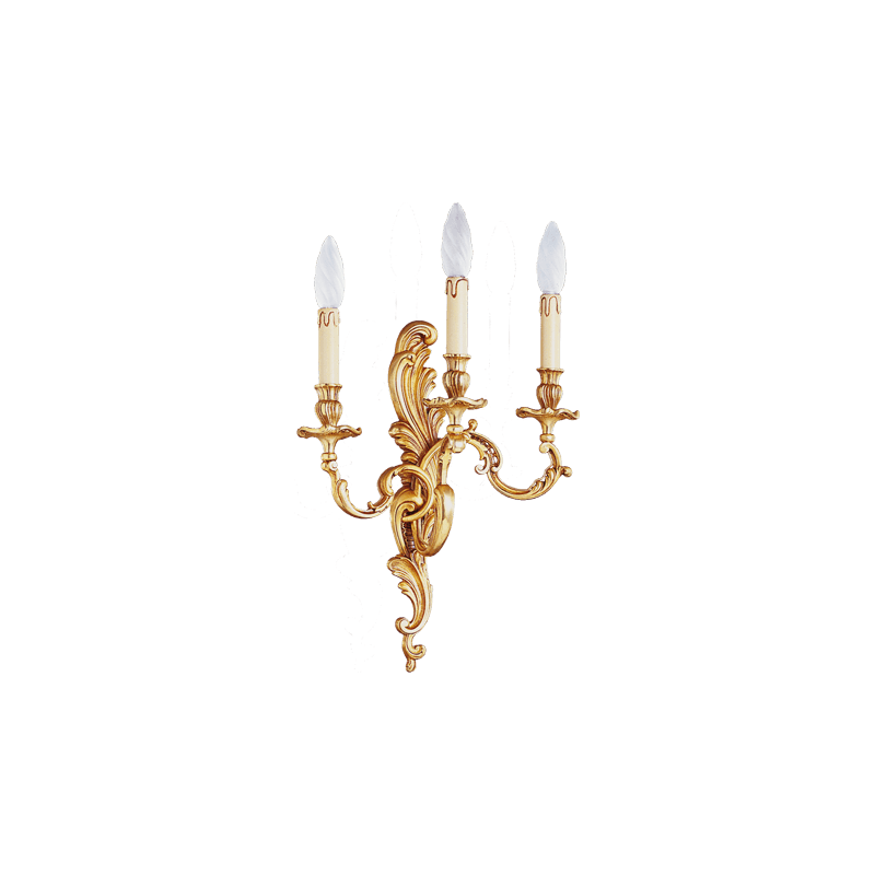 Lucien Gau Louis XV Wandleuchte aus massiver Bronze mit drei Leuchten 15413