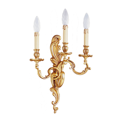 Lucien Gau Louis XV solid bronze wall lamp with three lights 15413