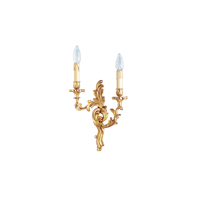 Lucien Gau Louis XV solid bronze wall light with two lights 15232