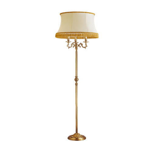 Lucien Gau Louis XV style floor lamp with three lights with lampshade 15873 ter