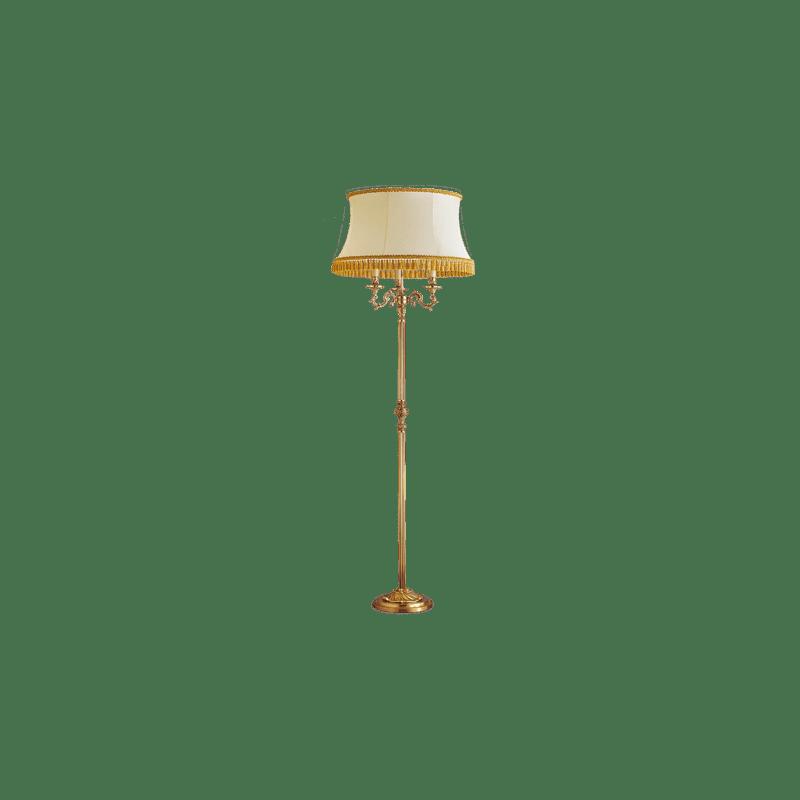 Lucien Gau Lampadaire de style Louis XV à trois lumières avec abat-jour 15873 ter