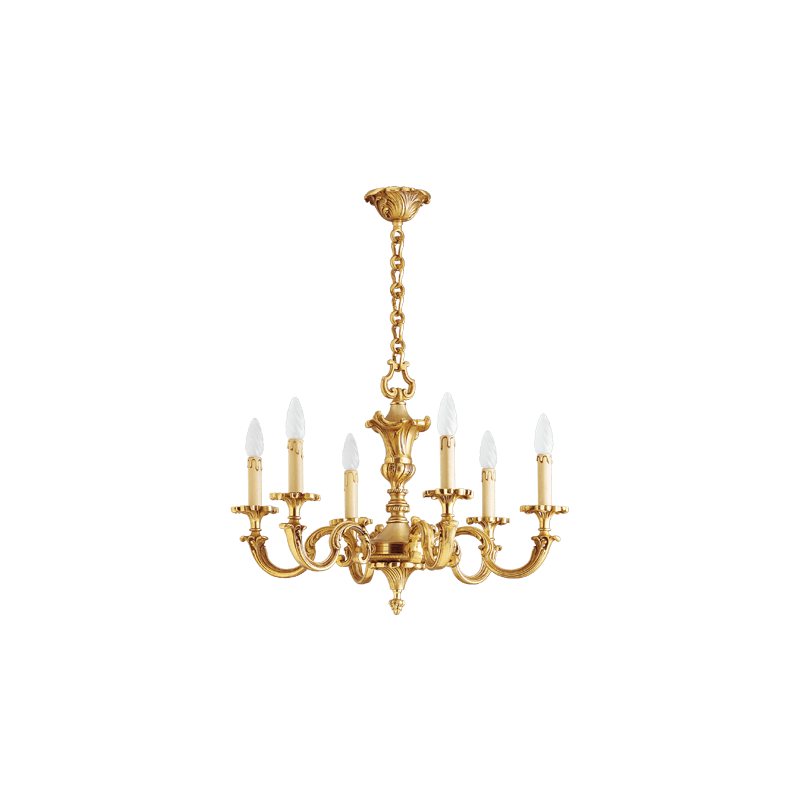 Lucien Gau Louis XV solid bronze chandelier with six lights 15846