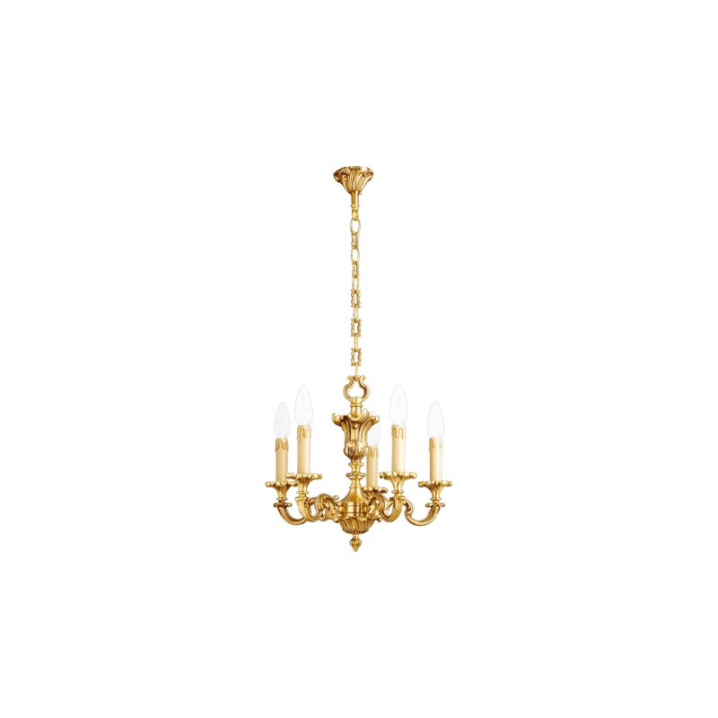 Lucien Gau Lustre en bronze massif Louis XV à cinq lumières 15825
