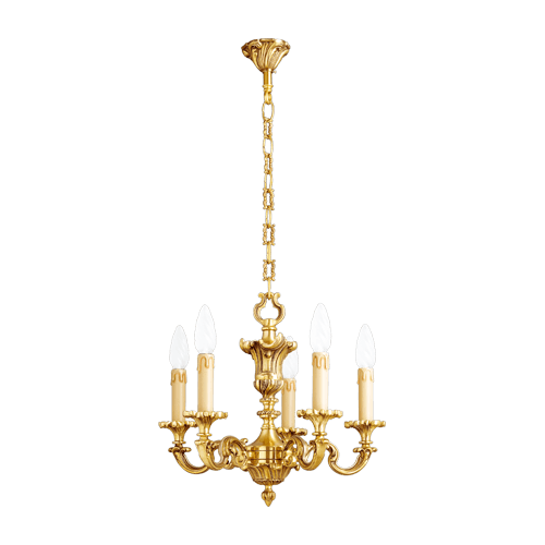 Lucien Gau Louis XV solid bronze chandelier with five lights 15825