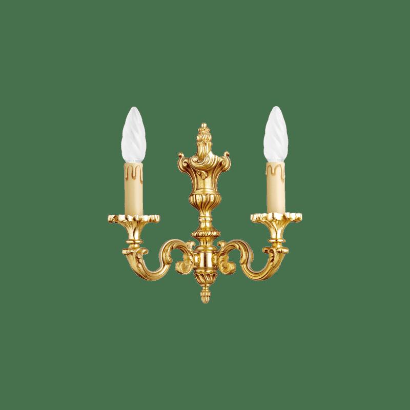 Lucien Gau Louis XV Wandleuchte aus massiver Bronze mit zwei Leuchten 15822