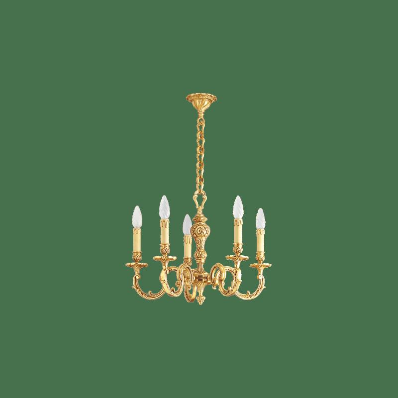 Lucien Gau Louis XV Kronleuchter aus massiver Bronze mit fünf Leuchten 15586/5