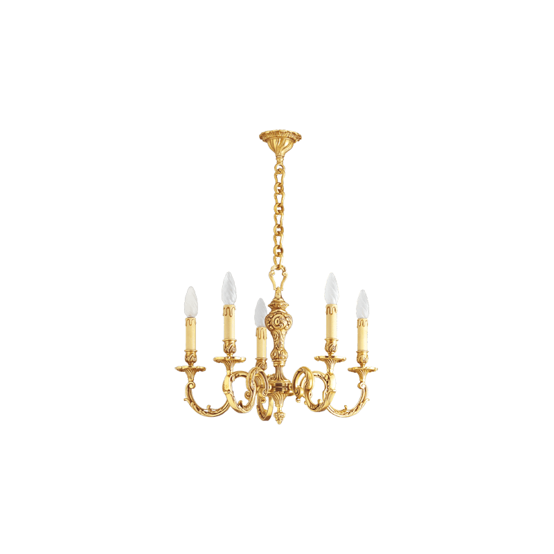 Lucien Gau Louis XV solid bronze chandelier with five lights 15586/5