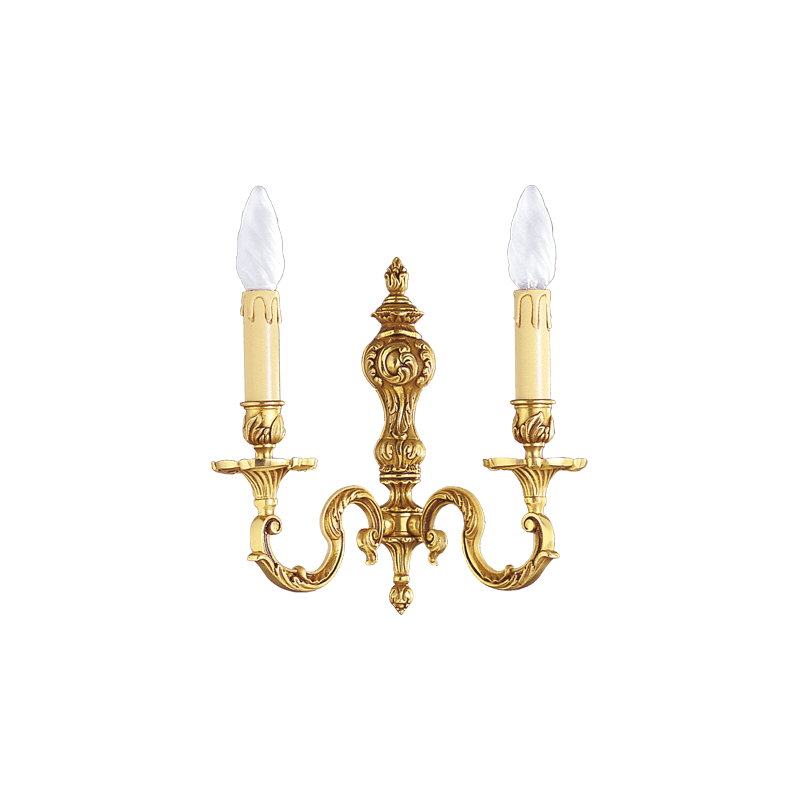 Lucien Gau Louis XV solid bronze two-light wall lamp 15582