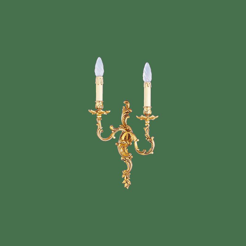 Lucien Gau Louis XV Wandleuchte aus massiver Bronze mit zwei Leuchten 15362