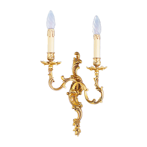 Lucien Gau Louis XV solid bronze wall light with two lights 15362