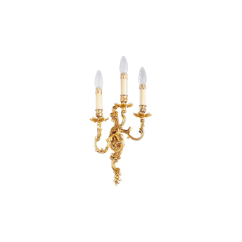 Lucien Gau Louis XV solid bronze wall lamp with three lights 15363