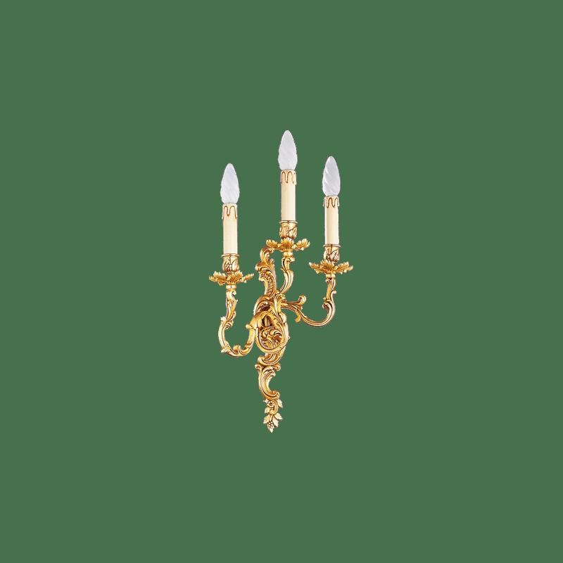 Lucien Gau Louis XV Wandleuchte aus massiver Bronze mit drei Leuchten 15363
