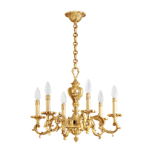 Lucien Gau Louis XV solid bronze chandelier with six lights 15536