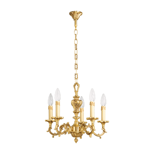 Lucien Gau Solid bronze chandelier at five lights 15535