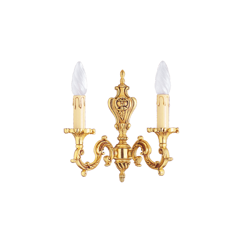 Lucien Gau Louis XV solid bronze wall lamp with two lights 15852