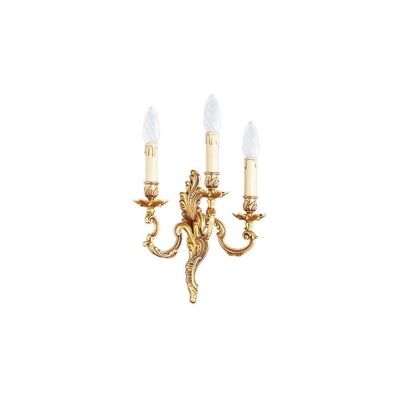 Lucien Gau Louis XV solid bronze wall lamp with three lights 15923