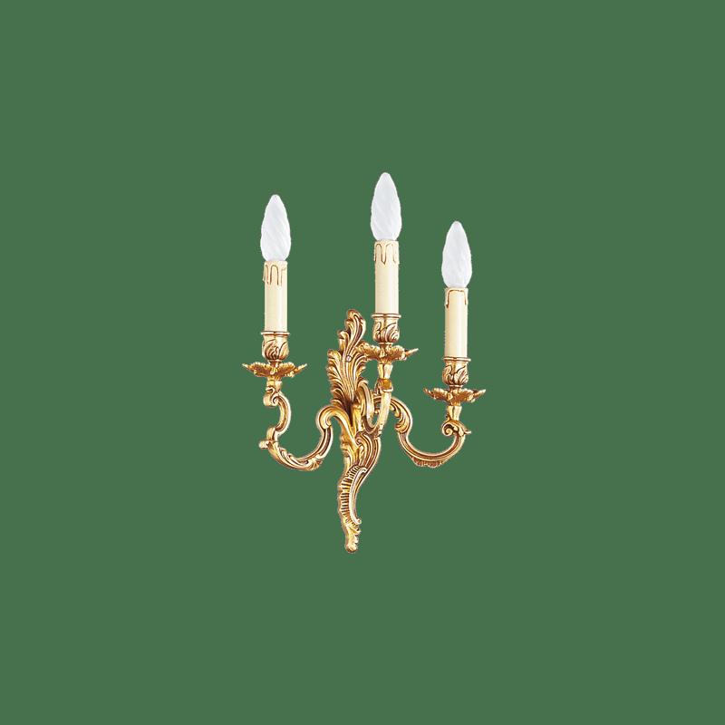 Lucien Gau Louis XV Wandleuchte aus massiver Bronze mit drei Leuchten 15923