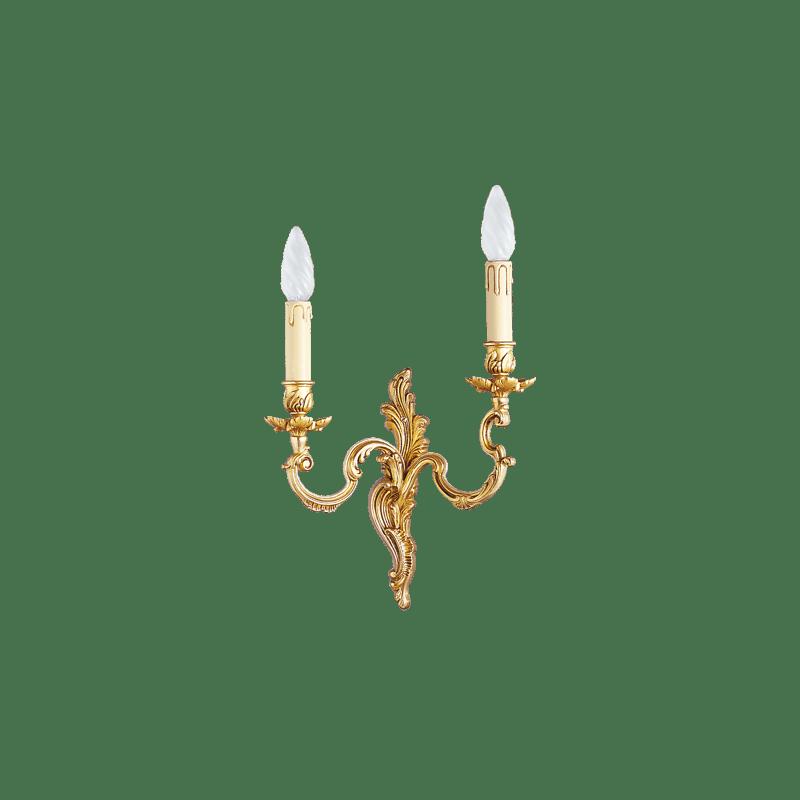 Lucien Gau Louis XV Wandleuchte aus massiver Bronze mit zwei Leuchten 15922