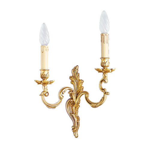 Lucien Gau Louis XV solid bronze wall lamp with two lights 15922