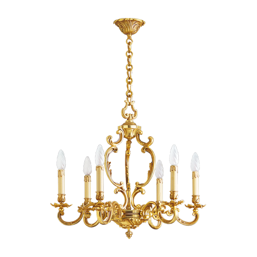 Lucien Gau Louis XV solid bronze chandelier with six lights 15506