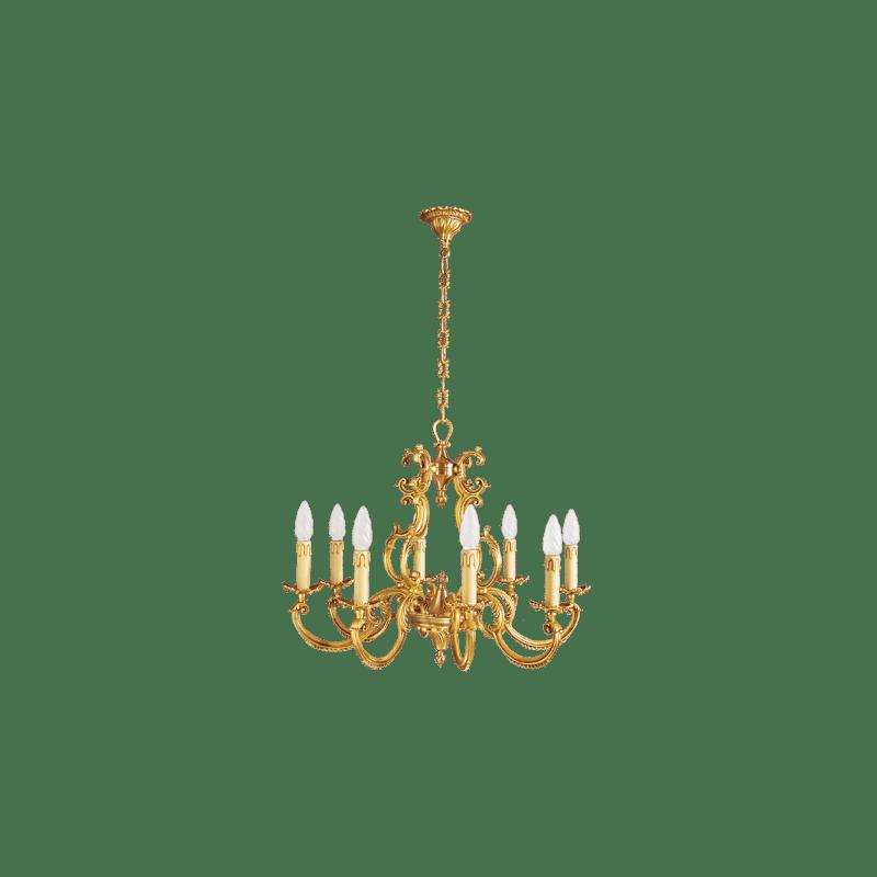 Lucien Gau Acht Lichter Louis XV Solid Bronze Kronleuchter 15888
