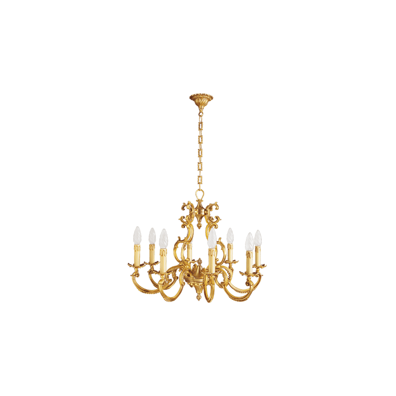 Lucien Gau Eight Lights Louis XV Solid Bronze Chandelier 15888