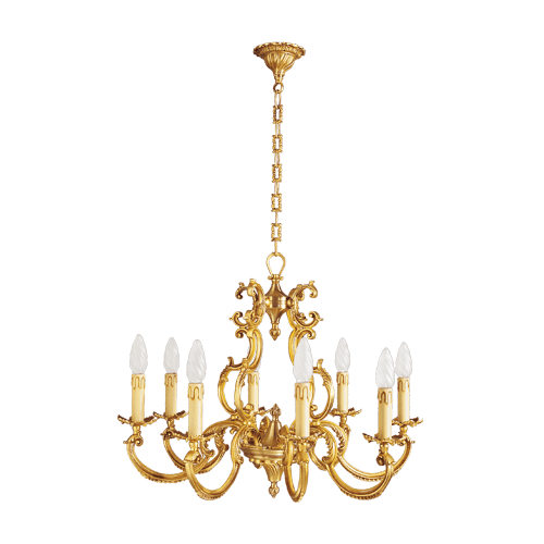 Lucien Gau Eight Lights Louis XV Solid Bronze Chandelier 15888