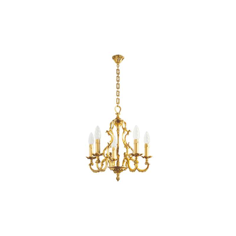 Lucien Gau Louis XV solid bronze chandelier with five lights 15885