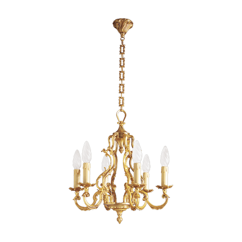 Lucien Gau Louis XV solid bronze chandelier with six lights 15886