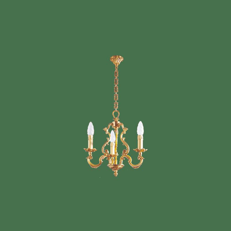 Lucien Gau Louis XV solid bronze chandelier with three lights 15883