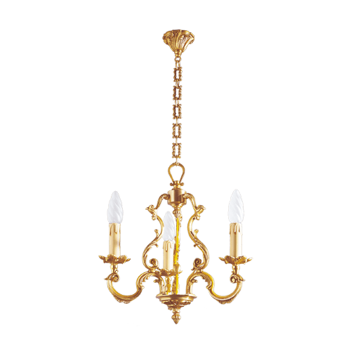 Lucien Gau Louis XV solid bronze chandelier with three lights 15883